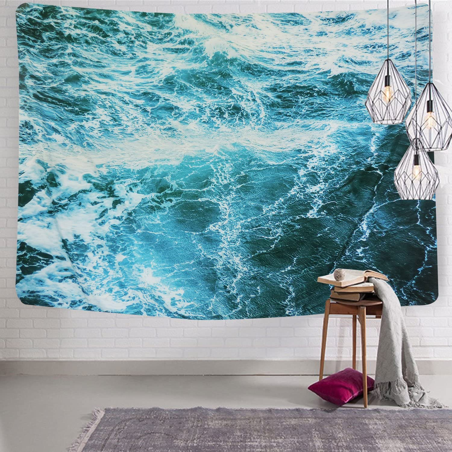 """Sunm Boutique Wall Tapestry Blue Ocean Wave Tapestry Sea Wall Hanging Tapestry Wall Art Decor Tablecloth (Spray,59.1""""X82.7"""")"""
