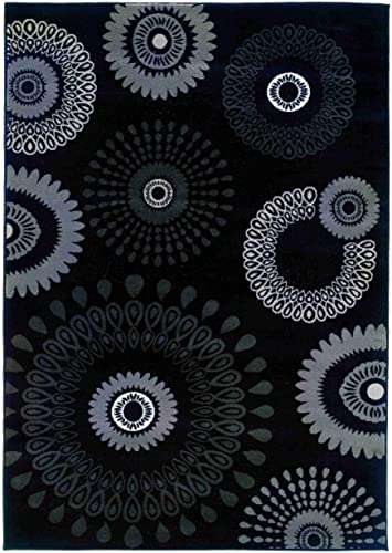 LR Resources Adana Charcoal Kaleidoscopic Rug Rug Size 5 3 x 7 5