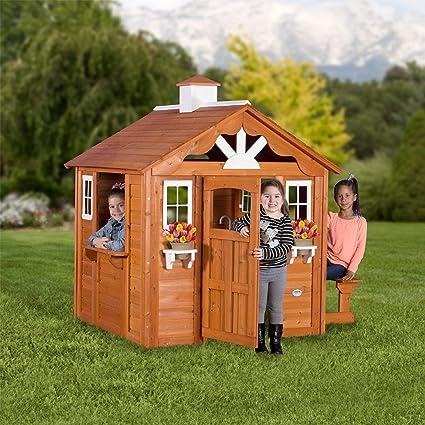 Amazoncom Backyard Discovery Summer Cottage All Cedar Playhouse