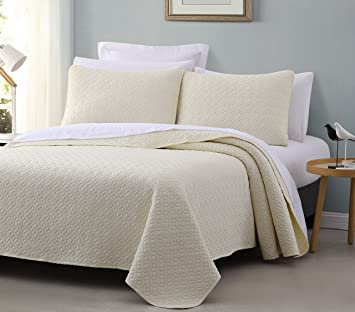 Beautiful Titan PREWASHED 3 Piece Quilted Quilt, Coverlet U0026 Bed Cover Set, Stitched  Pattern,