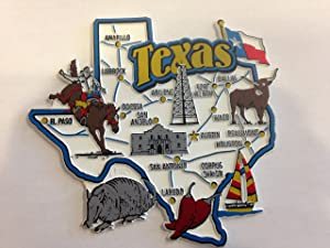 Texas State Map and Landmarks Collage Fridge Collectible Souvenir Magnet FMC