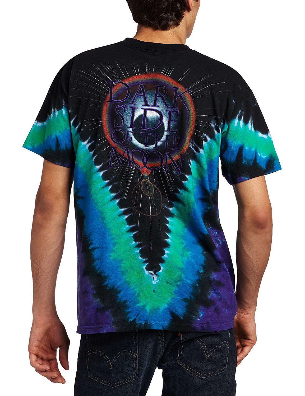 207cdc2690f8 Amazon.com  Liquid Blue Men s Pink Floyd Dark Side V-Dye T-Shirt  Clothing