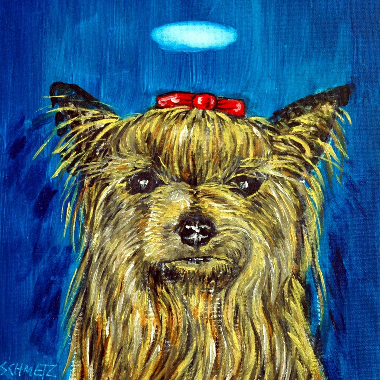 Yorkshire Terrier Yorkie Angel dog art tile coaster gift