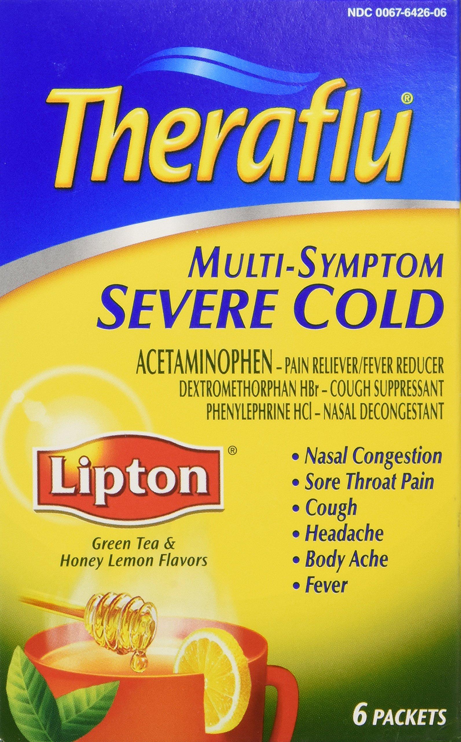 Theraflu Multi Symptom Severe Cold w/Lipton-Honey Lemon, 6 ct