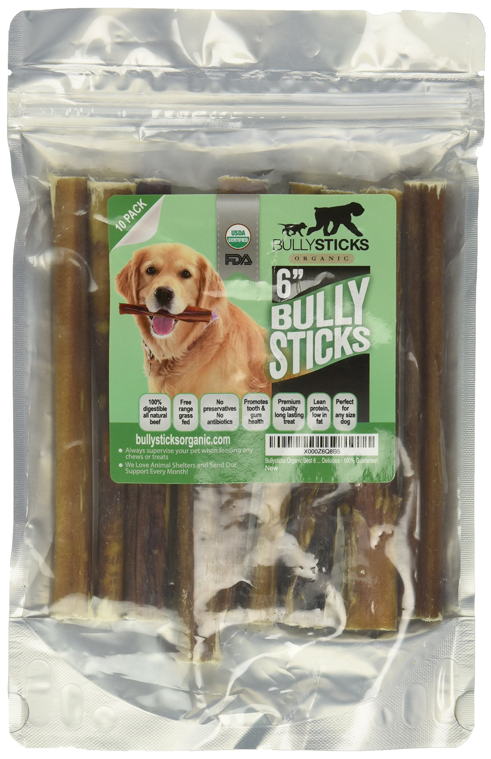 Bullysticks Organic Bully Sticks For Dogs - Big Bag 10 Pack Low Odor Dog Treats