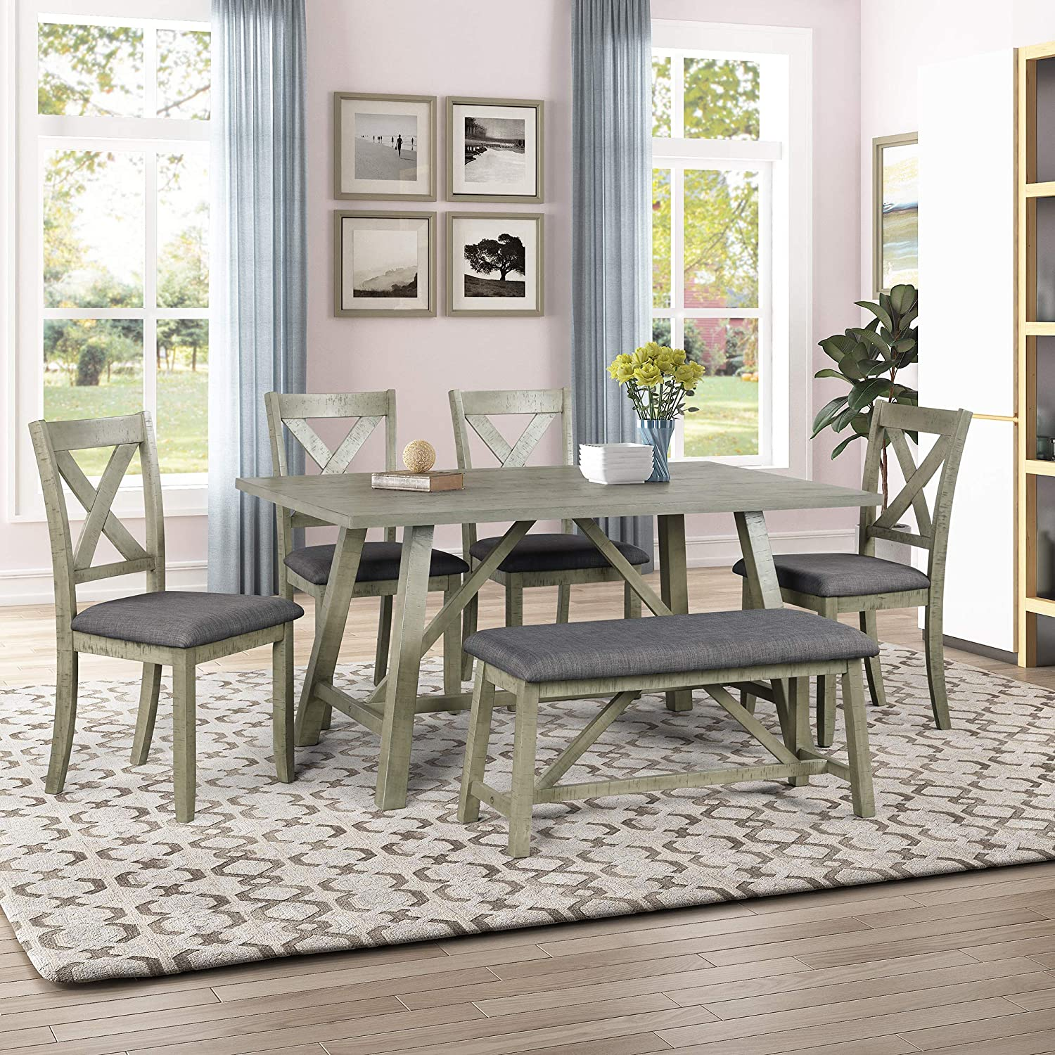 Amazon Com P Purlove 6 Piece Dining Table Set Dining Room Set With Table Bench And 4 Chairs Wood Dining Table And Chair Kitchen Table Set For 6 Persons Table Chair Sets