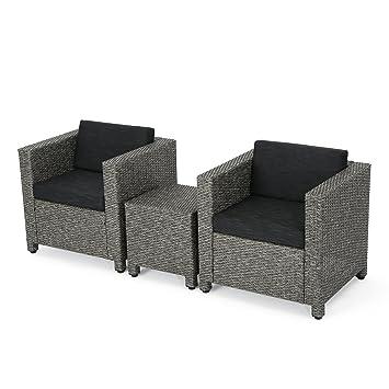 amazon com pueblo outdoor wicker club chair set with maching side