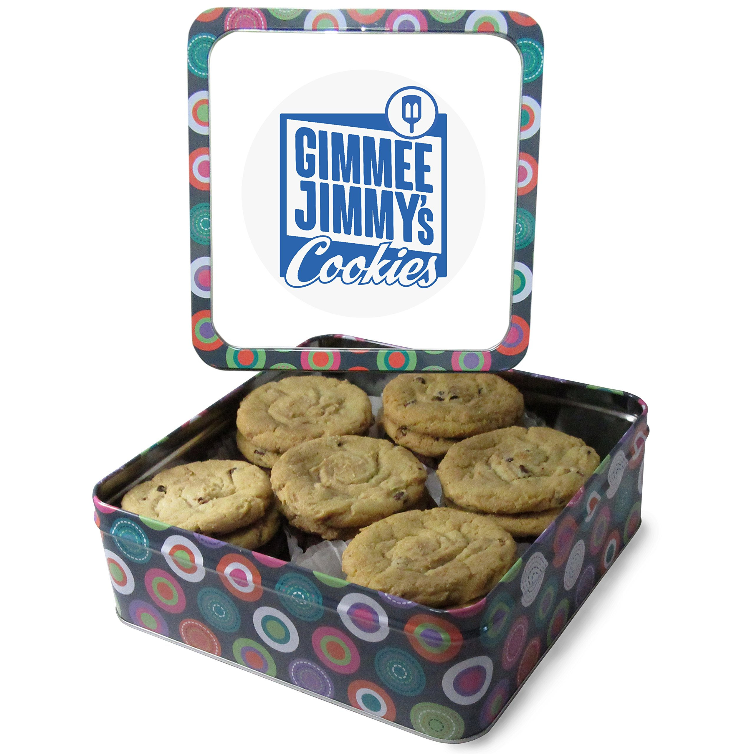 Fresh Baked Chocolate Chip Cookie Tins, Comes in Multiple Sizes | Gimmee Jimmy's Authentic Cookies-2 Pound Tin