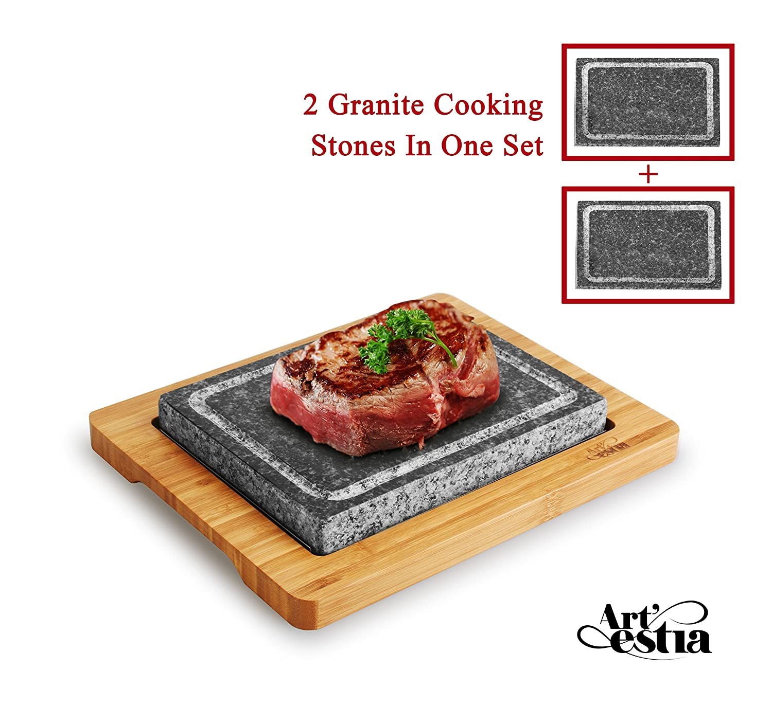 Artestia Mega Size Cooking Stone Sizzling Hot Stone Set with Stainless Steel Tray and Bamboo Platter, Deluxe Tabletop Barbecue/BBQ/Hibachi/Steak Grill (Deluxe Set with Mega Stone) AR-88019