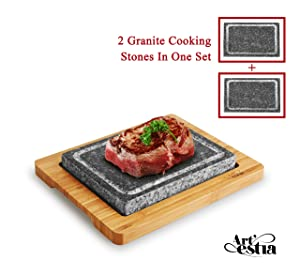 Artestia Double Cooking Stones Sizzling Hot Stone Set, Deluxe Tabletop Barbecue/BBQ/Hibachi/Steak Grill (Two Stone Deluxe Set)