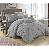 Chic Home 10 Piece Hannah Pinch Pleated, ruffled and pleated complete King Bed In a Bag Comforter Set Silver With sheet set
