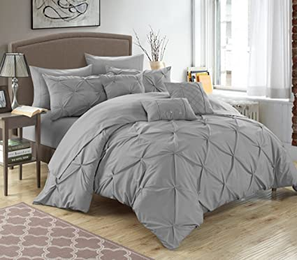 Delicieux Chic Home 10 Piece Hannah Pinch Pleated, Ruffled And Pleated Complete Queen  Bed In A
