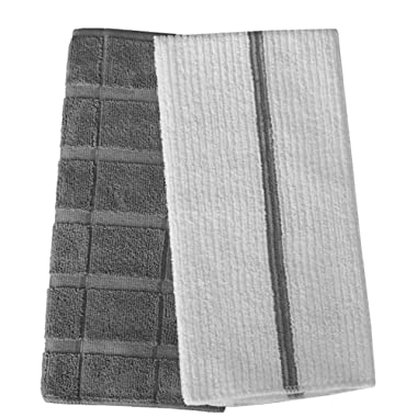 Gryeer Microfiber Dish Towels - 8 Pack (4 Check and 4 Stripe Designed) - Soft, Super Absorbent and Lint Free Kitchen Towels, 26 x 18 Inch, Gray