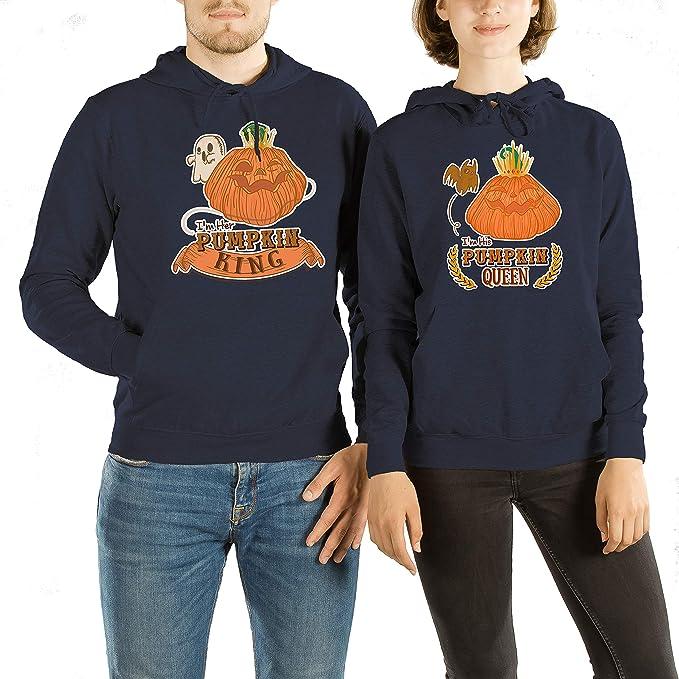VivaMake® Set de 2 Sudaderas de Halloween para Parejas Hombre y Mujer con Diseño Pumpkin King y Queen: Amazon.es: Ropa y accesorios
