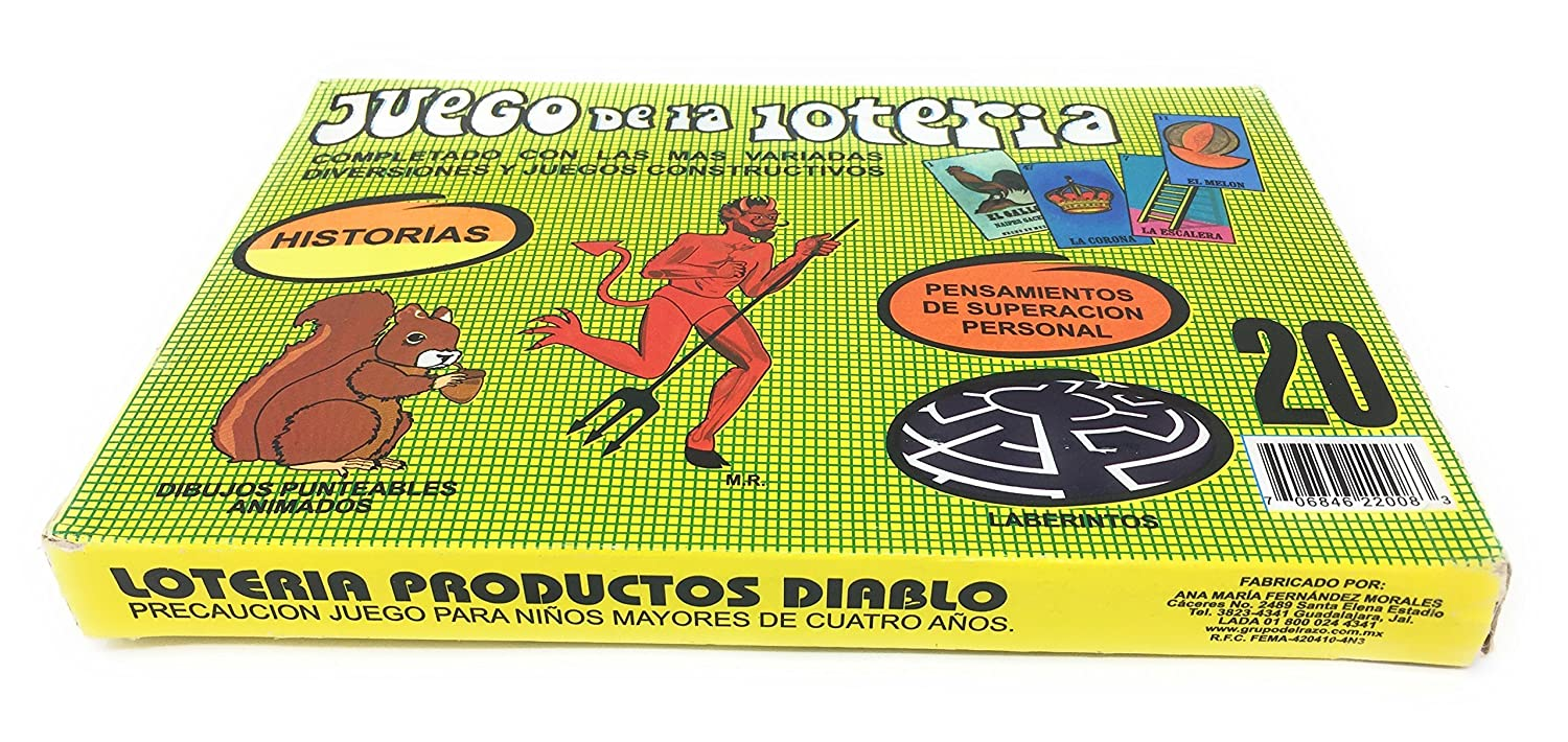 Amazon.com: Loteria Mexicana Family Board Game Box with 20 Boards and Snakes and Ladders Game on the Back by Naipes Gacela: Toys & Games