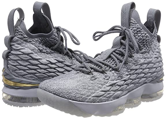 24ac18d4d6d Nike Mens Lebron 15 Basketball Shoes Wolf Grey Cool Grey Metallic Gold  897648-005 Size 11.5  Buy Online at Low Prices in India - Amazon.in
