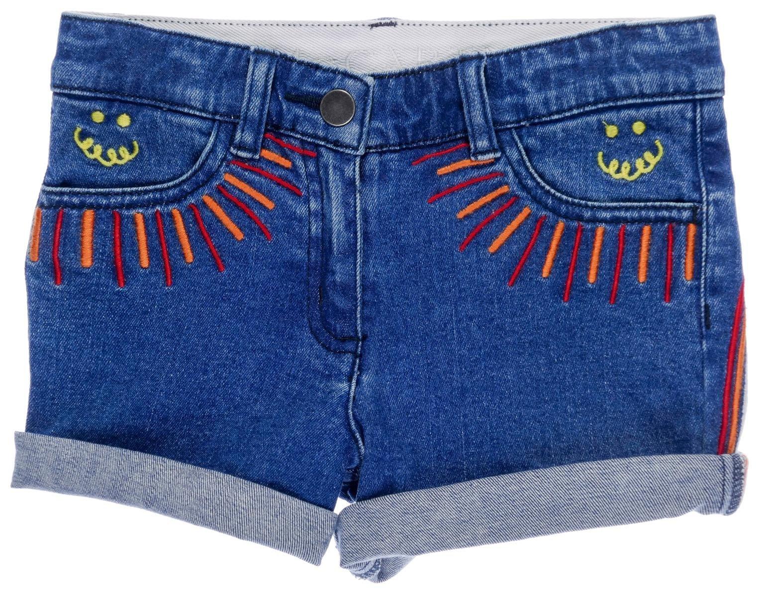 Stella McCartney Kids Girls' Eddie Rainbow Denim Shorts, Blue, 6