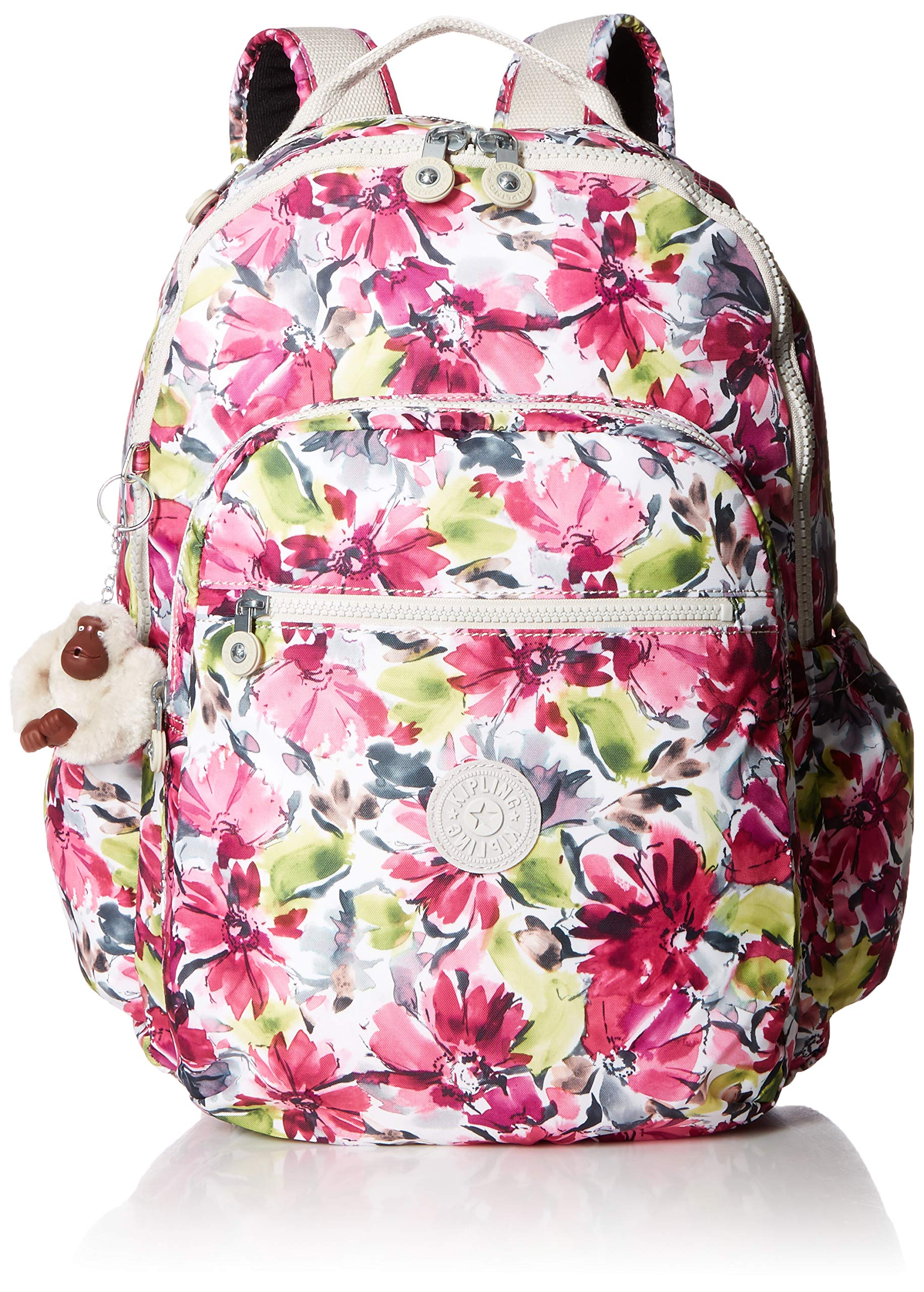 Kipling Seoul Go Laptop, Padded, Adjustable Backpack Straps, Zip Closure, Blushing Posies