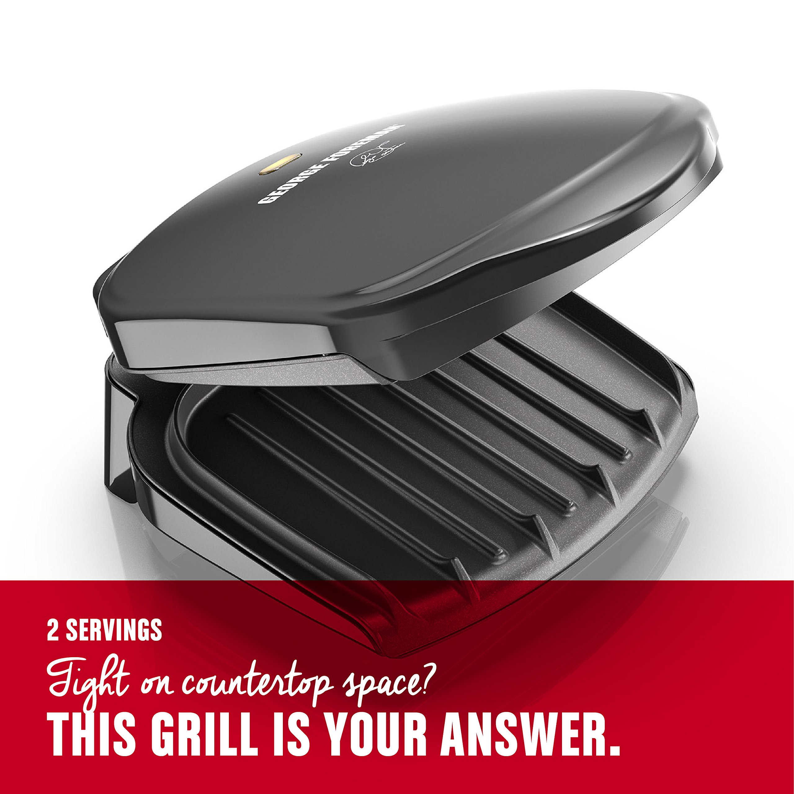 George Foreman 2-Serving Classic Plate Electric Indoor Grill and Panini Press, Black, GR10B by George Foreman (Image #3)