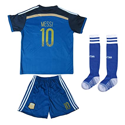 811c12b18 FWC 2014 Lionel Messi 10 Argentina Away Futbol Football Soccer Jersey    Short WITH SOCKS (