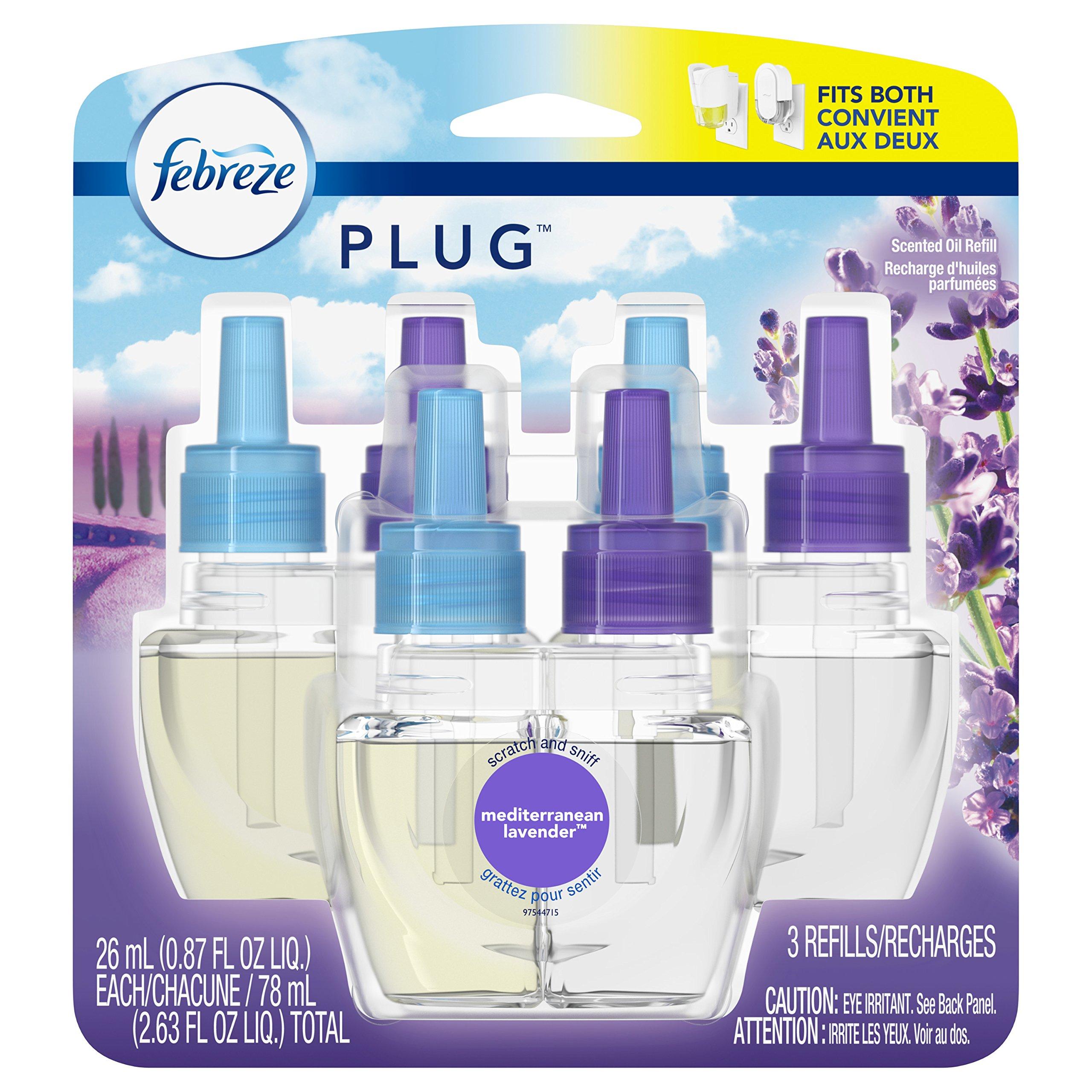Febreze Febreze Plug in Air Freshener Scented Oil Refill, Mediterranean Lavender, 3 Count
