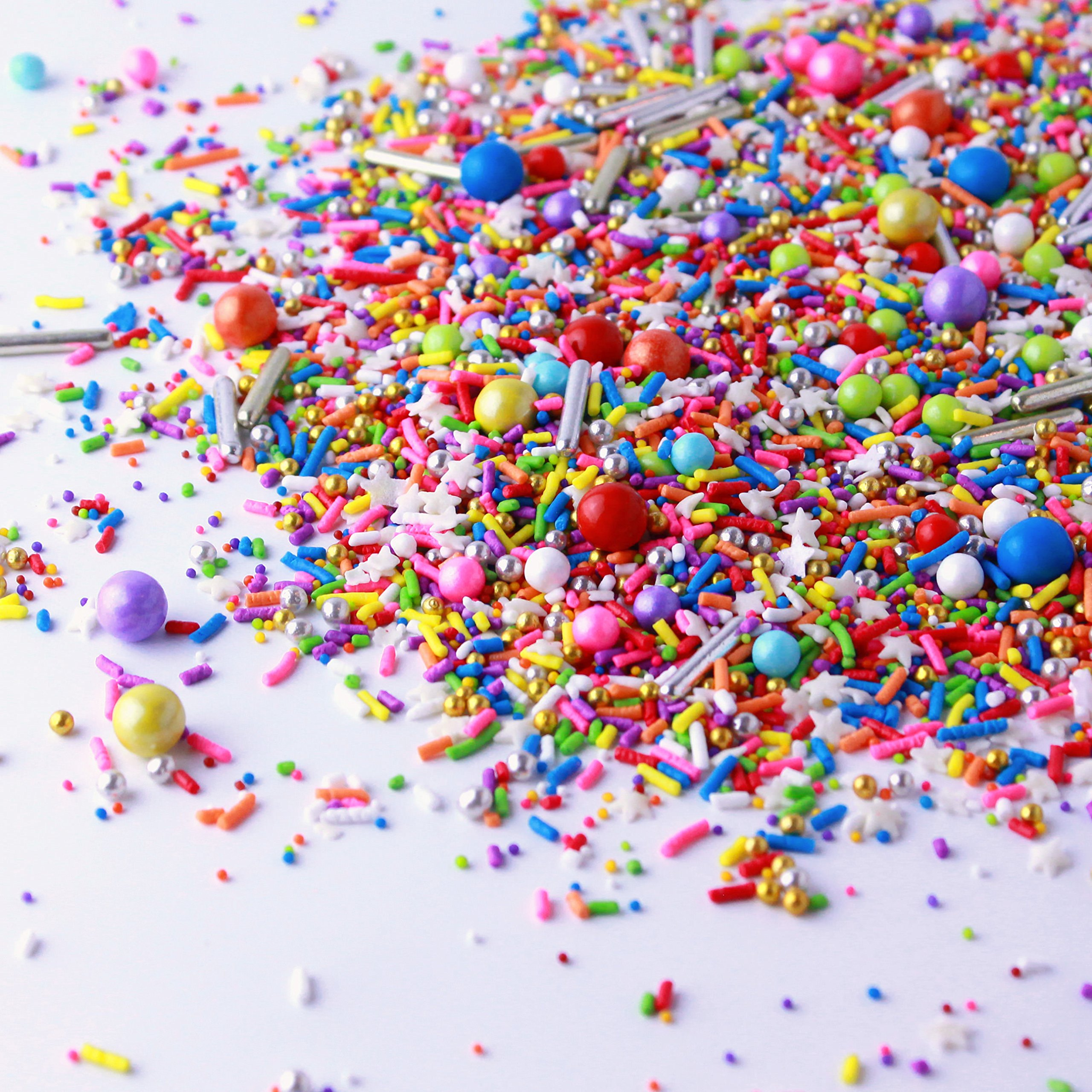 Rainbow Road Sprinkle Mix, Birthday Sprinkles, Cake Sprinkles, Metallic Sprinkles, Unicorn Sprinkles, 2oz by SPRINKLE POP