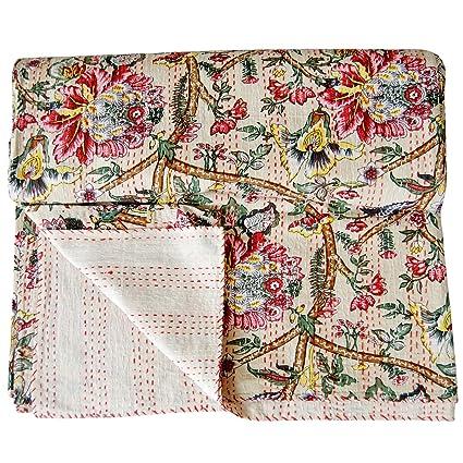 Amazon Com Ajanta Handicrafts Floral Kantha Quilt Queen Size Indian