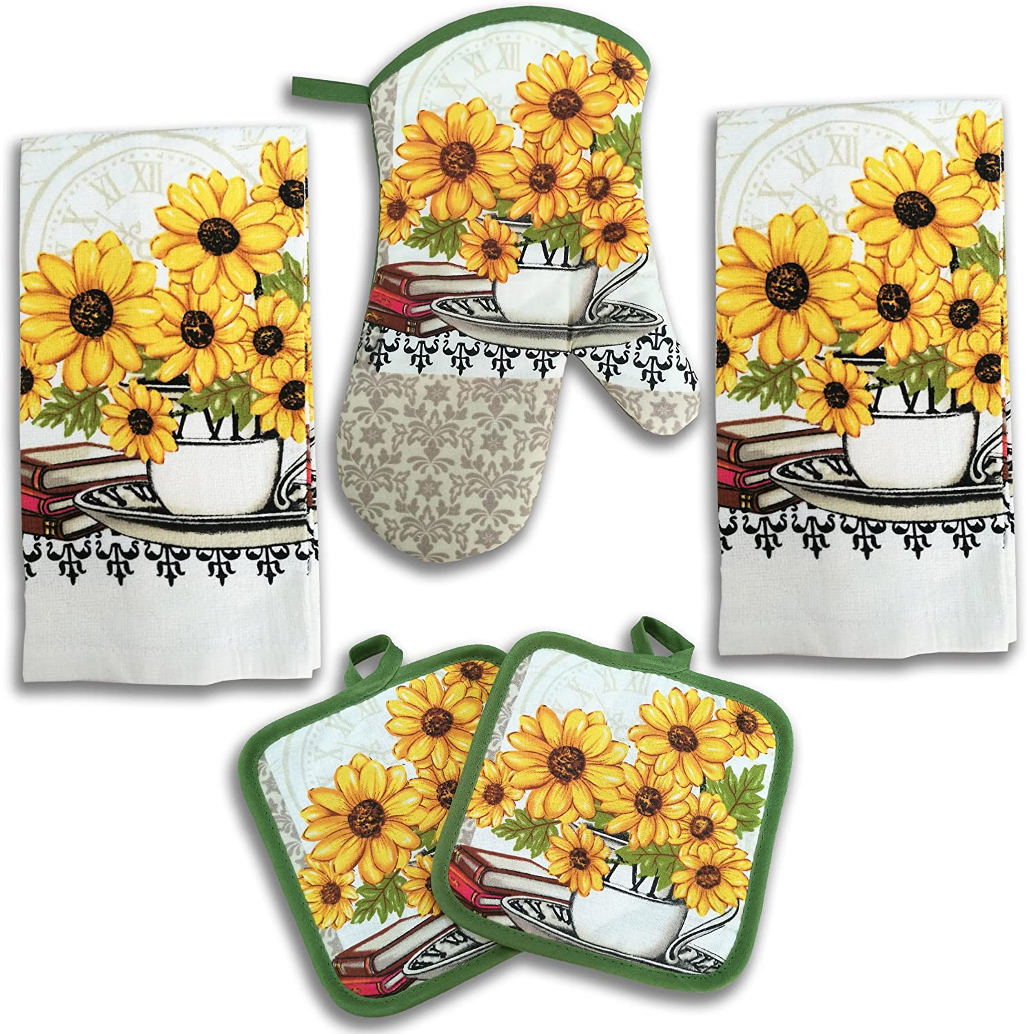 Amazon Com American Mills Yellow Sunflower Decor 5 Piece Printed Kitchen Linen Set Includes Towels Pot Holders Oven Mitt Home