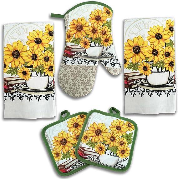 Sunflower Decor 5 Piece Printed Kitchen Linen Set