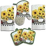 American Mills 5 Piece Lightweight Decorative Kitchen Towel Set Includes Oven Mitt & Potholders Yellow Sunflower