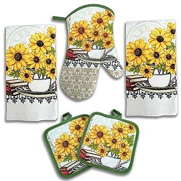 Amazoncom Sunflower Kitchen Decor 5 Piece Linen Set Home Kitchen