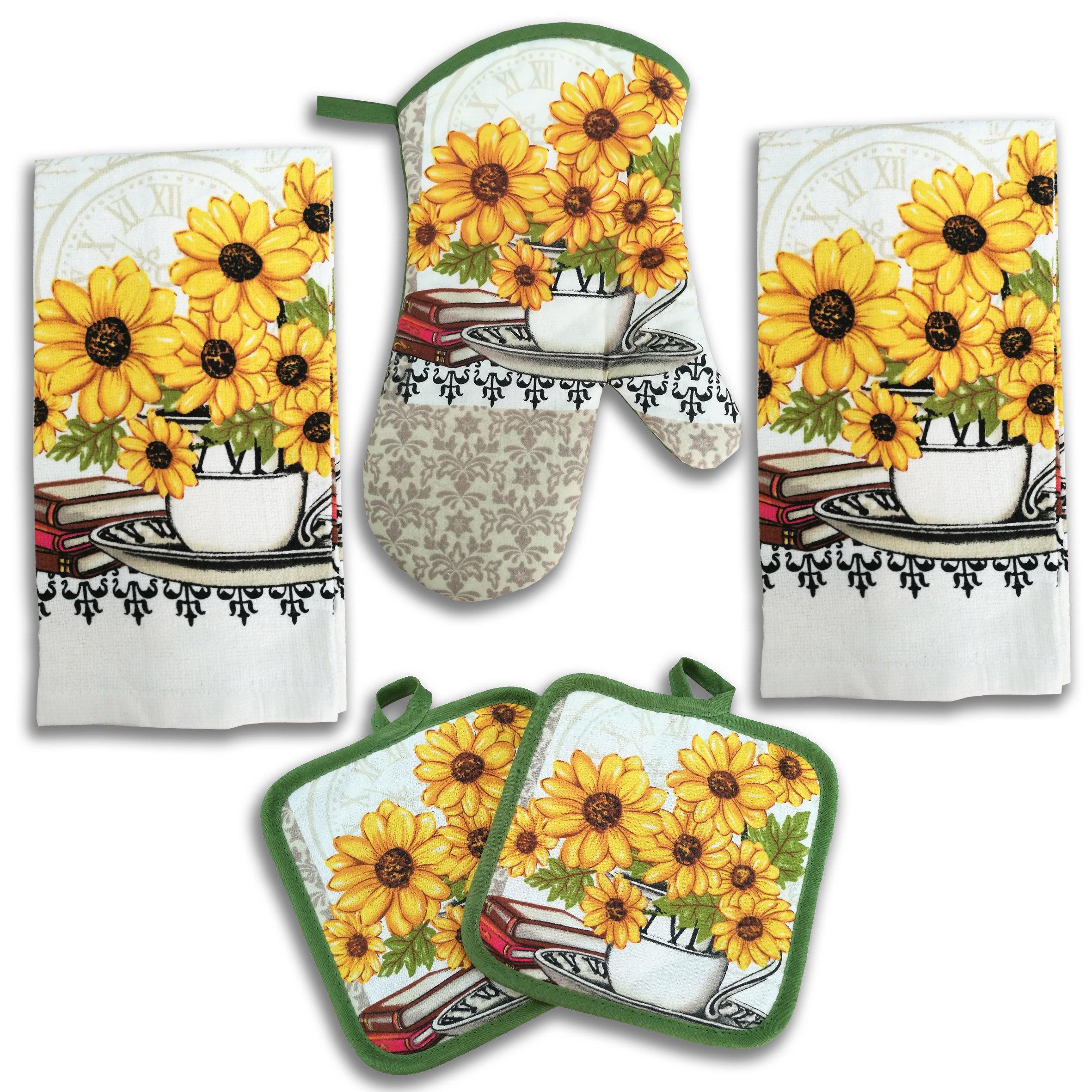 Sunflower Kitchen Decor 5 Piece Linen Set by American Mills