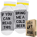 """Comfort Cotton Socks + Gift Box""""If You can Read This Bring me a Cold Beer"""" Perfect Unisex Gift for Beer Lovers, Birthdays, White Elephant, Mother's Day,Father's Day, Husband or Best Friend Beer Socks"""