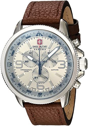 17383eb3c4 Swiss Military Men s Quartz Watch with Silver Dial Chronograph Display and  Brown Leather Strap 6-4224.04.030  Amazon.co.uk  Watches