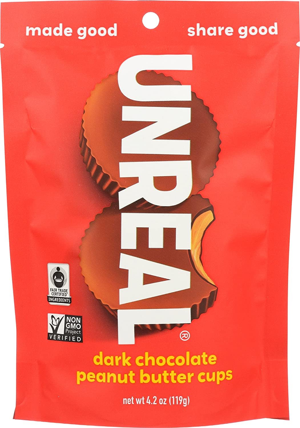 UNREAL Dark Chocolate Peanut Butter Cups, 4.2 oz, Pack of 6