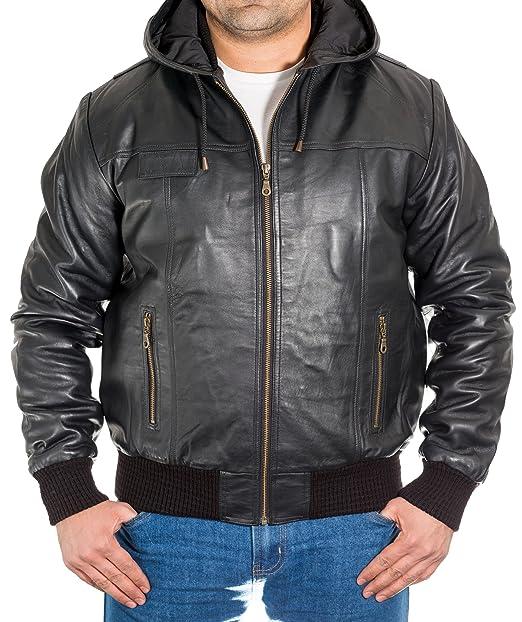 Negro para hombre cuero verdadera del bombardero chaqueta ...