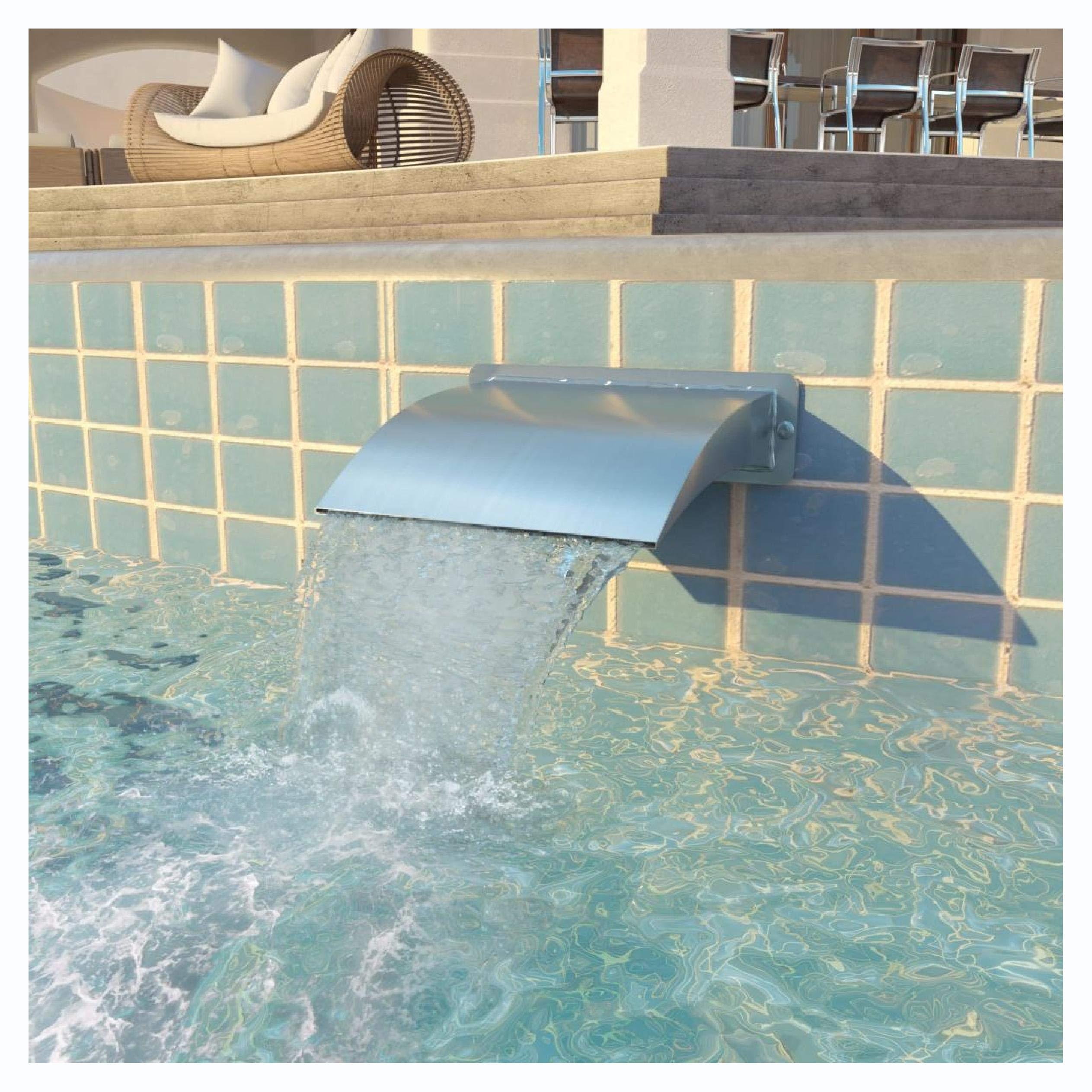 HEATAPPLY Fountain & Waterfall, Pool Fountain Stainless Steel 11.8''x3.5''x10.2'' Silver
