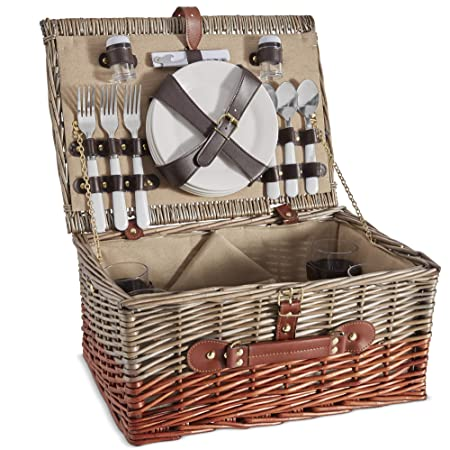 VonShef 4 Person Wicker Picnic Basket Set Includes Flatware Tableware Inc. Dinner Plates, Wine Glasses, Cotton Napkins, Cutlery Perfect for Outdoor Family Fun