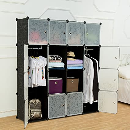 UNICOO - Multi Use DIY Plastic 16 Cube Organizer, Bookcase, Storage  Cabinet, Wardrobe