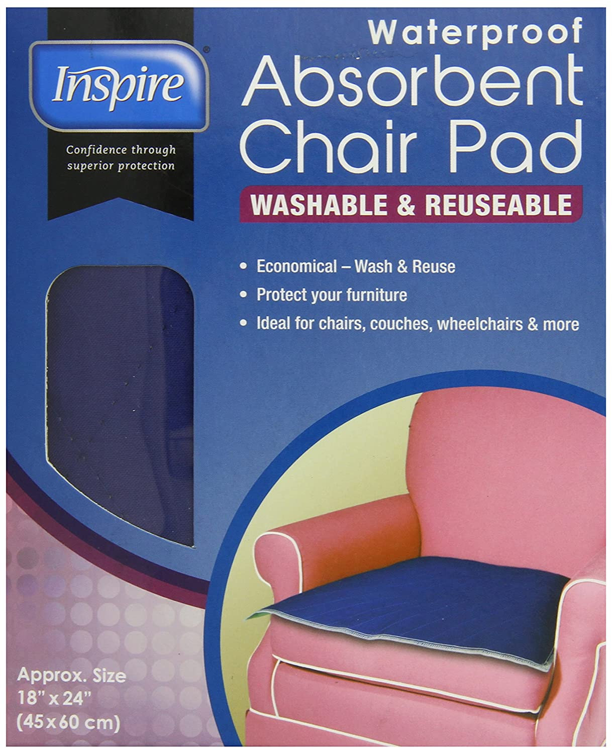 Amazon.com: Inspire Washable Waterproof Chair Pad For Incontinence, 18  Inches X 24 Inches: Health U0026 Personal Care