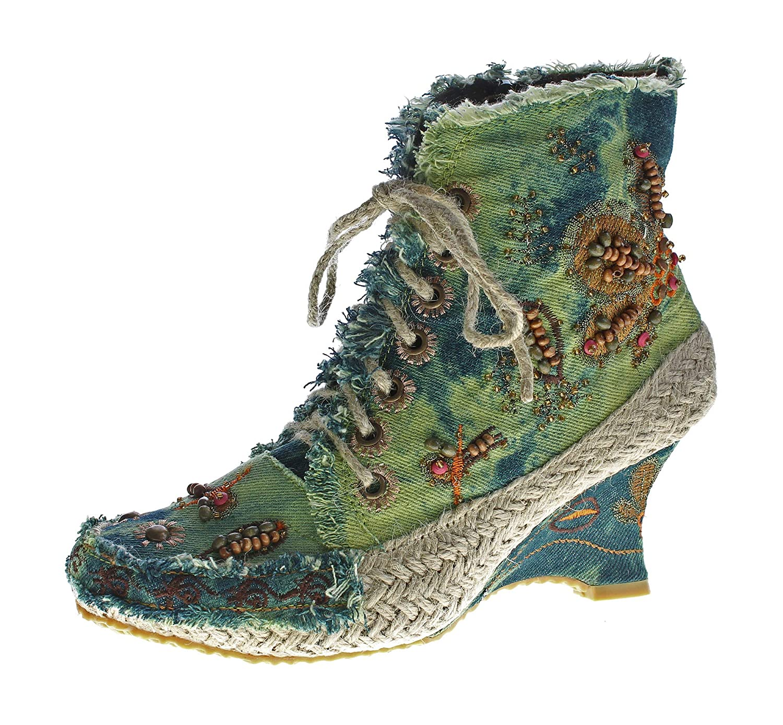 36-41 stahl-moden Damen Stiefeletten Keil Absatz Wedges Batik-Look Stoff Schuhe Stiefel Muster variieren Gr
