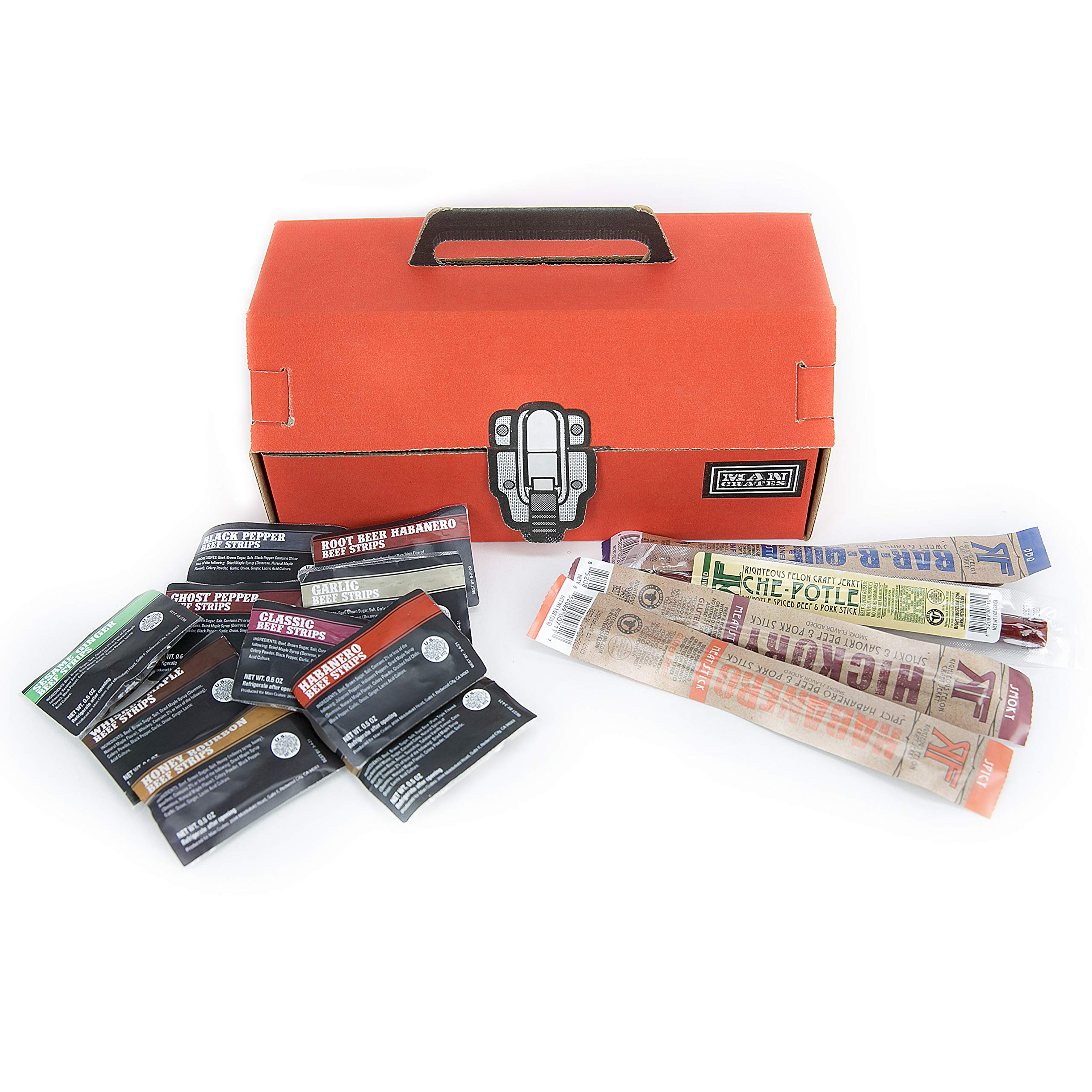 Man Crates Jerky Tool Box - Unique Gift For Men - Includes 14 Delicious Beef Jerky Flavors - In A Delightfully Surprising Tool-Shaped Box