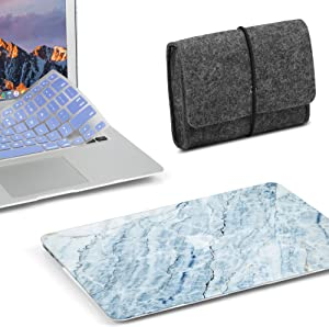 3 in 1 MacBook Latest Pro Touch Bar 15 Inch A1990/A1707 (2016,2017,2018 Release) Bundle, GMYLE Hard Matte Case, Felt Storage Organizer Pouch Bag with Keyboard Cover - Light Blue Ice Marble Stone