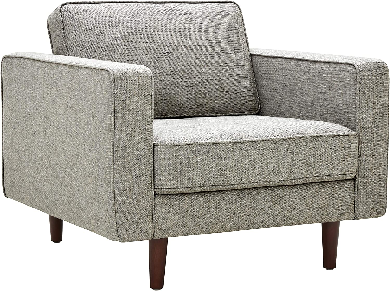"Amazon Brand – Rivet Aiden Mid-Century Modern Tufted Accent Chair, 35.4""W, Light Grey"