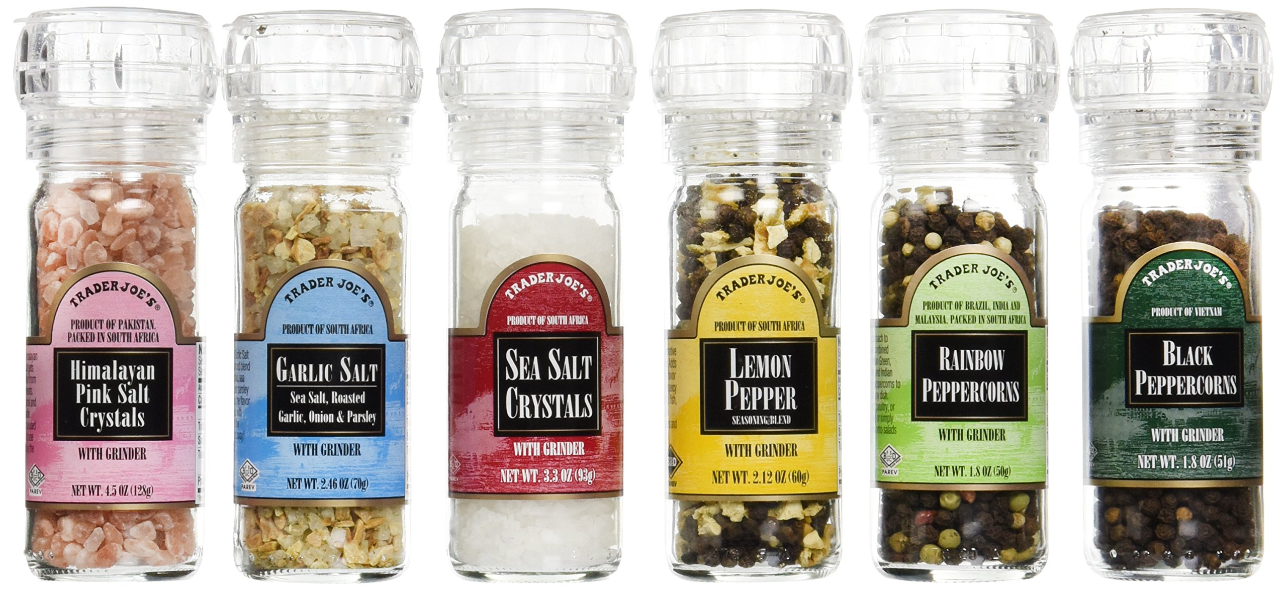 Trader Joe's Set of Six Gourmet Salt & Pepper Set with Built-in Grinder by Trader Joe's