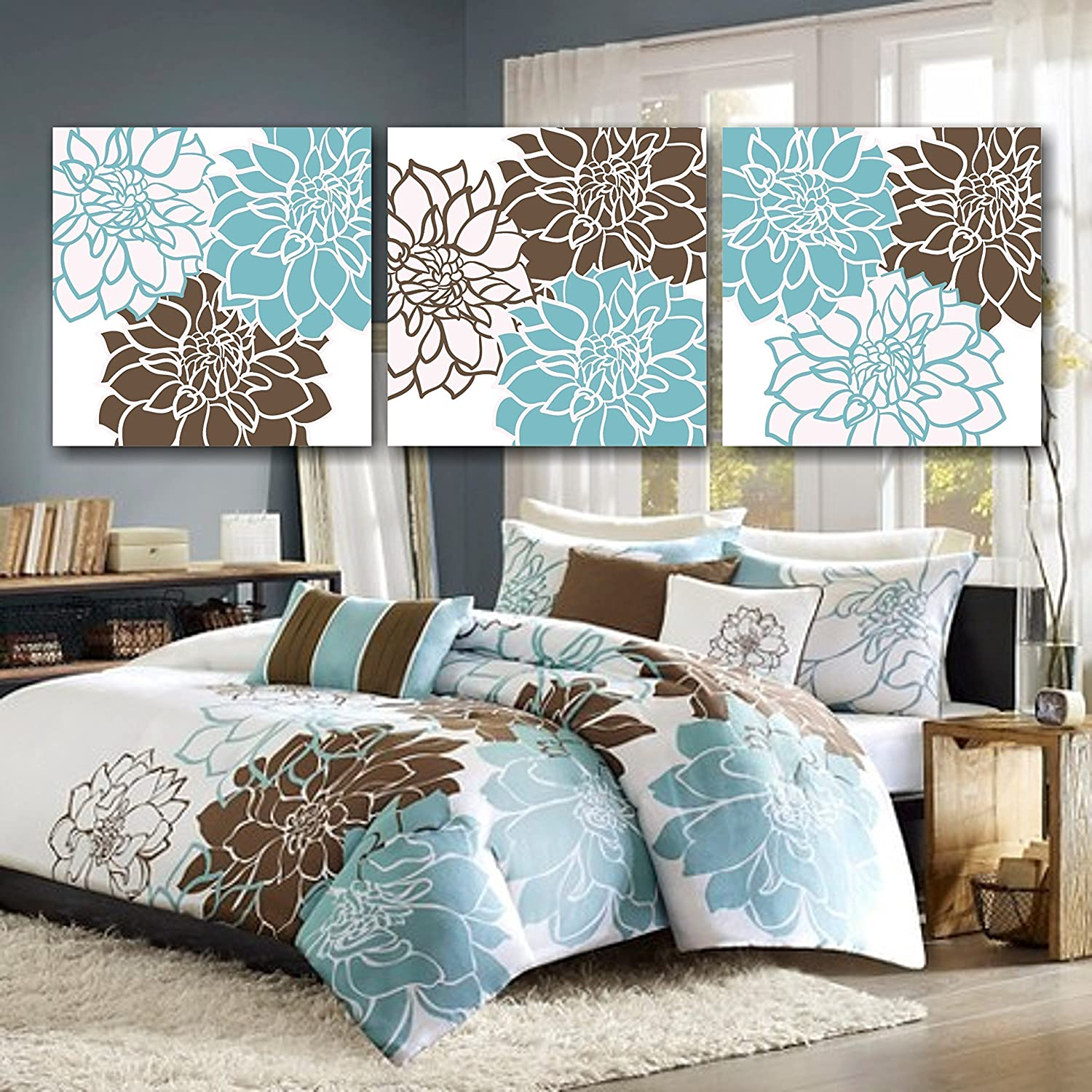 Teal And Brown Bedroom Amazoncom Teal Brown Bedroom Wall Artblue Brown Floral Wall Art