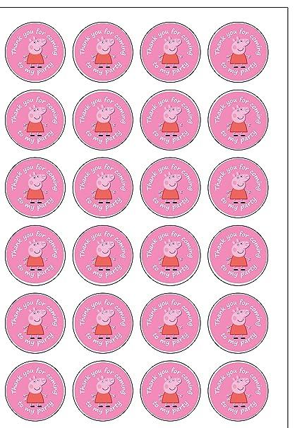 24 adornos precortados de Peppa Pig gracias por venir a mi fiesta oblea comestible de tartas
