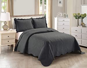 Home Collection 3pc King/Cal King Over Size Elegant Embossed Bedspread Set Light Weight Solid Charcoal New