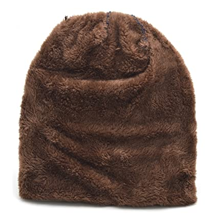 861d0dde755 ... Classic Men s Thick Warm Winter Fleece Lining Knit Beanie Hat Baggy  Oversize Slouchy Stocking Skull Cap
