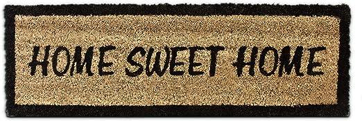 """Relaxdays Color marr/ón Felpudo /""""Sweet Home/"""" para la Entrada de su hogar Hecho de Fibras de Coco y PVC con Medidas 40 x 60 cm Antideslizante Elemento Decorativo"""